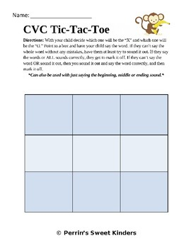 CVC Tic-Tac-Toe EDITABLE