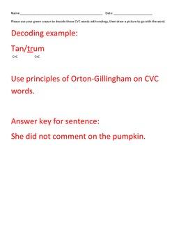 CVC Two syllable Decoding Orton-Gillingham