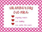 CVC Valentine's Day Pack - Rhyming, Spelling, & Writing CVC Words