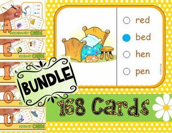 Phonics Multiple Choice Task Cards CVC/AEIOU (BUNDLE)  LEVEL 1