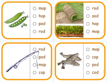 "Vocabulary: Phonics Task Cards (CVC Short ""O"") RF.K.2d"