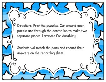 CVC Vocabulary Puzzles: Short U Set