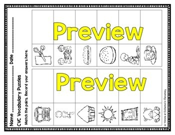 CVC Vocabulary Puzzles: Short Vowel Bundle