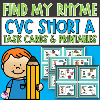 Short Vowel CVC Word Family Rhyme Task Cards and Printables Short A