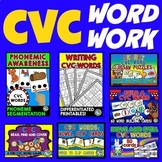 CVC ACTIVITIES FOR KINDERGARTEN (CVC WORDS CENTERS AND PHONICS WORKSHEETS BUNDLE