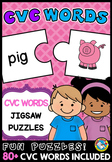 READING CVC PUZZLE WORD WORK ACTIVITY KINDERGARTEN (CVC WO