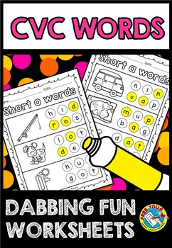 cvc worksheets kindergarten build a word cvc words with dots dab it printables. Black Bedroom Furniture Sets. Home Design Ideas