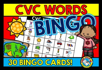 CVC WORDS WITH PICTURES ACTIVITY (CVC BINGO GAME FOR WHOLE CLASS) CVC GAMES