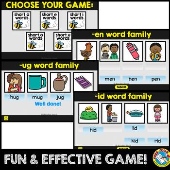 CVC WORD FAMILY INTERACTIVE GAME (MATCHING CVC WORDS WITH PICTURES DIGITAL GAME)