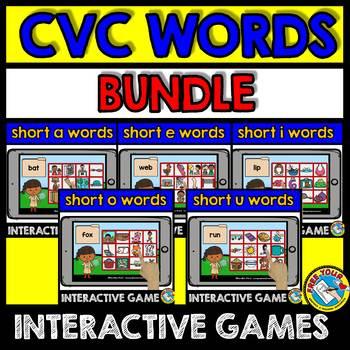 CVC ACTIVITIES KINDERGARTEN (BOOM CARDS READING CVC WORDS WITH PICTURES)