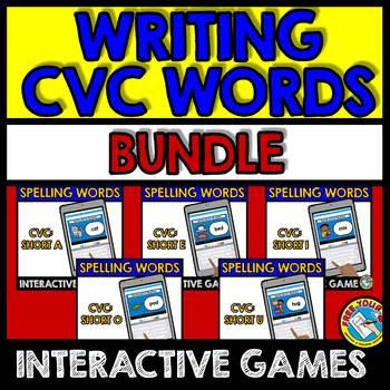 CVC GAMES DIGITAL CENTERS (SPELLING CVC WORDS BOOM CARDS BUNDLE PHONICS)
