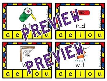 CVC WORDS: SHORT VOWEL CLIP CARDS: MIDDLE SOUND