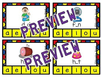SHORT VOWELS WORD WORK (CVC CLIP CARDS) MIDDLE SOUND ACTIVITIES