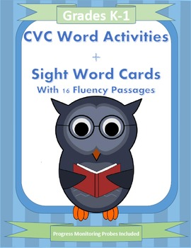 CVC Word Activites and Sight Word Cards with Progress Monitoring Probes