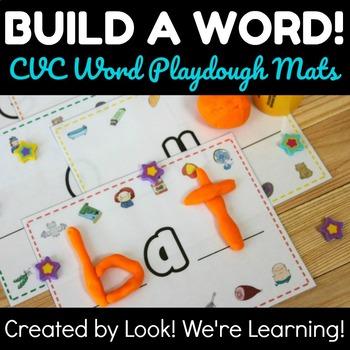 CVC Word Activities: CVC Word Playdough Mats - Build A Word!