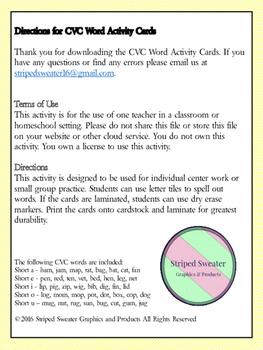 CVC Word Activity Cards