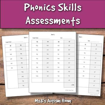 Phonics Skills Word Assessments (CVC Words, Consonant Digraphs)!