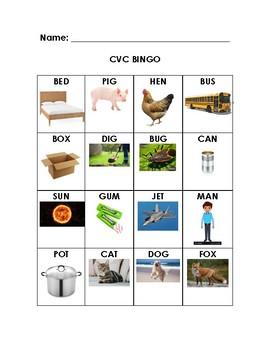 CVC Word BINGO