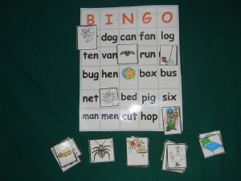 CVC Word BINGO Literacy center classroom resource tool