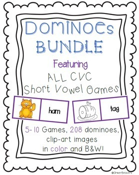 CVC Word BUNDLE (Short Vowels)/ Picture Match Dominoes Game