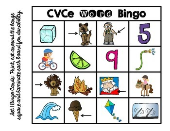 CVCe Word Bingo & Other Activities- Aligned with 1st Grade Common Core