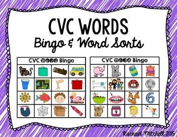 CVC Word Bingo & Word Sorts- Aligned with Kindergarten & 1st Grade Common Core
