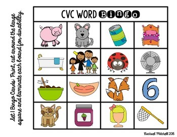 CVC Word Bingo & Word Sorts- Aligned with Kindergarten & 1st Grade Common Core