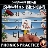 Consonant Blends Word Blending Task Cards with Snowman Theme