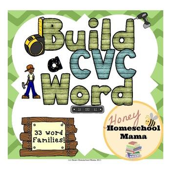 CVC Word Builder Set with Worksheets, Letter Tiles, and Letter Cubes