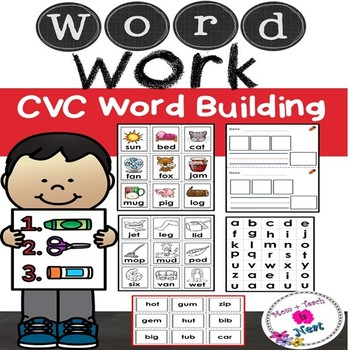 CVC Word Work-Find it, Build it, Write it (Color & Blackline Picture Cards)