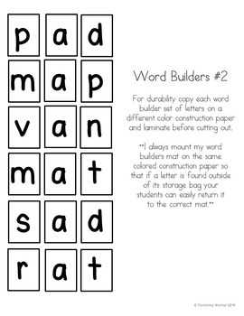 CVC Word Builders {Self Checking!}