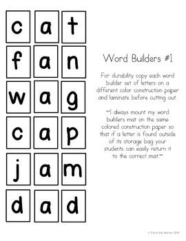 CVC Word Builders {Self Checking} Freebie!