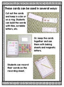 CVC Word Building Cards- Differentiated Literacy Center