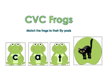 CVC Word Building Frogs and Lilly Pads Literacy Center Activity