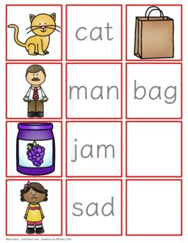 CVC Word Building and Picture/Word Match - Short a