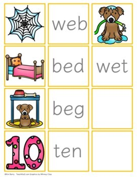 CVC Word Building and Picture/Word Match - Short e