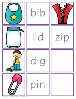 CVC Word Building and Picture/Word Match - Short i