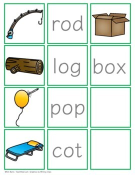 CVC Word Building and Picture/Word Match - Short o