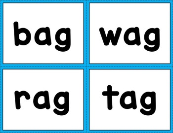 CVC Word Cards with Pictures:  Short A Sound