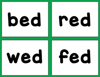 CVC Word Cards with Pictures: Short E Sound