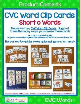 CVC Word Clip Cards - Short O Word Families