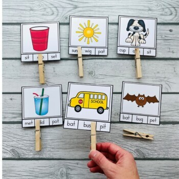 CVC Words Clip It Cards! Literacy Center Activity (32 Cards)