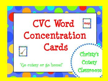 CVC Word Concentration Cards