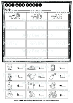 CVC Word Families -A- Sorts | Cut and Paste Worksheets