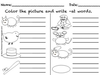 CVC Word Families Color and Write (31 pages)