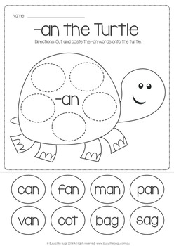 CVC Word Families Cut & Paste NO PREP Pack - Totally Turtle