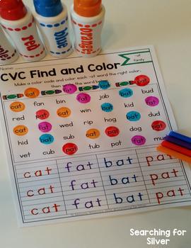 CVC Word Families Find & Color