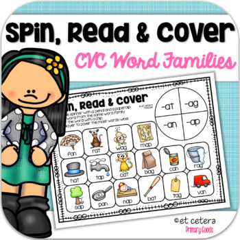Short Vowel CVC Word Family Game: Spin, Color and Write!