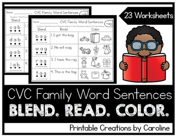 CVC Word Families. I Can Read. Simple Sentences. Short Vowels.