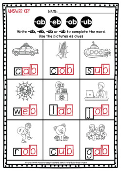CVC Word Families | Missing Letters Worksheets